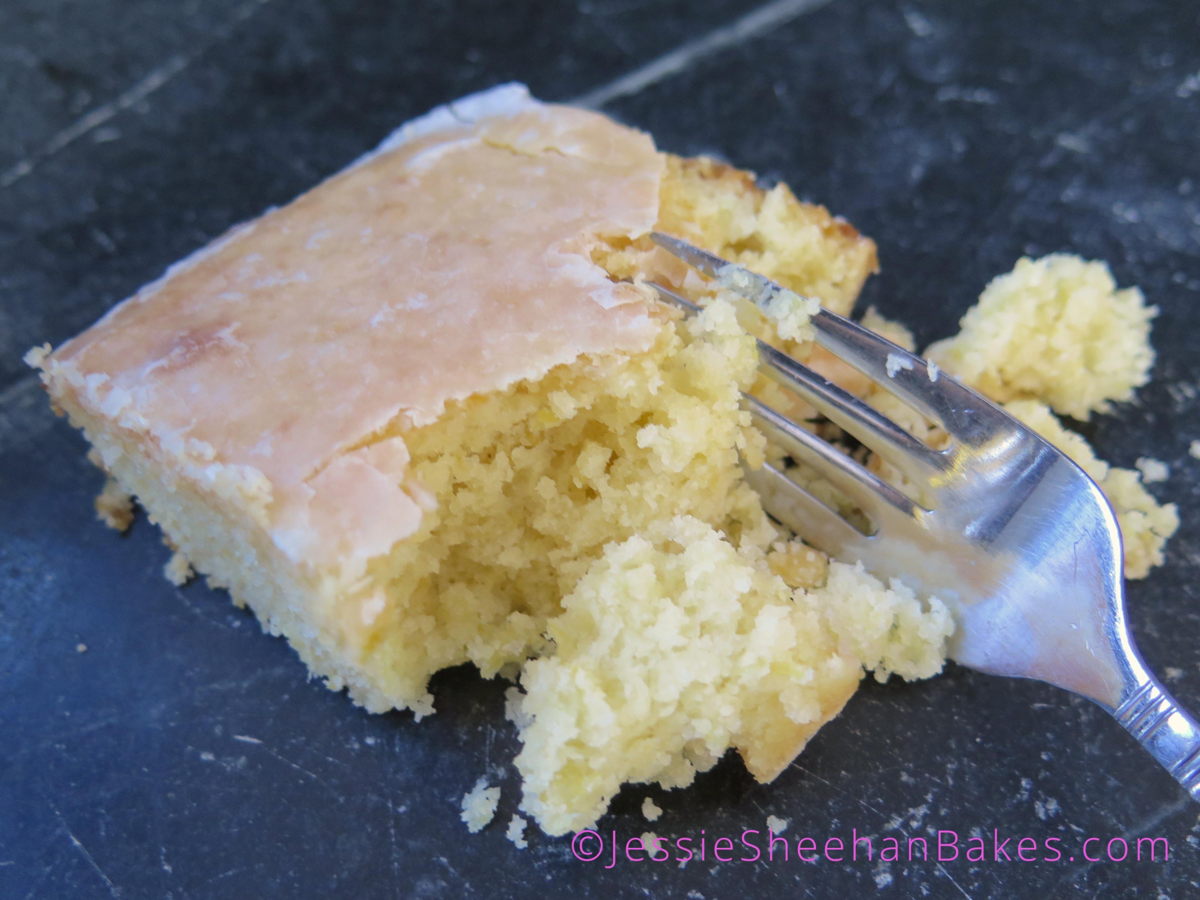 slice o' glazed lemon velvet sheet cake
