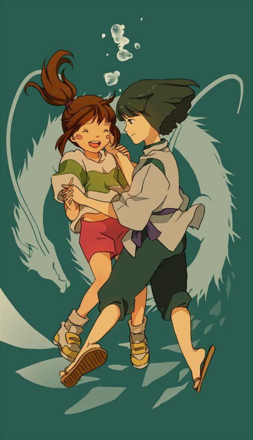 Spirited Away Hayao Miyazaki Studio Ghibli Ogino Chihiro And Haku Studio Ghibli Movies Studio Ghibli Fanart Studio Ghibli Art