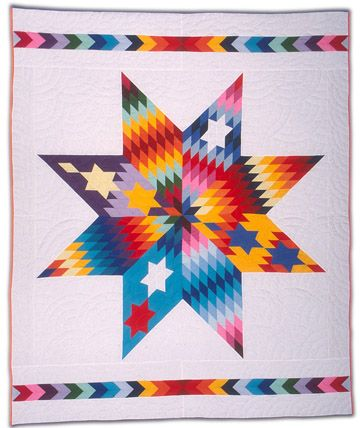 """GLQC Collections - Crazy Star, Nellie Star Boy Menard Sioux, Rosebud, South Dakota 1994 Cotton/polyester with polyester filling 76 """" x 96"""""""