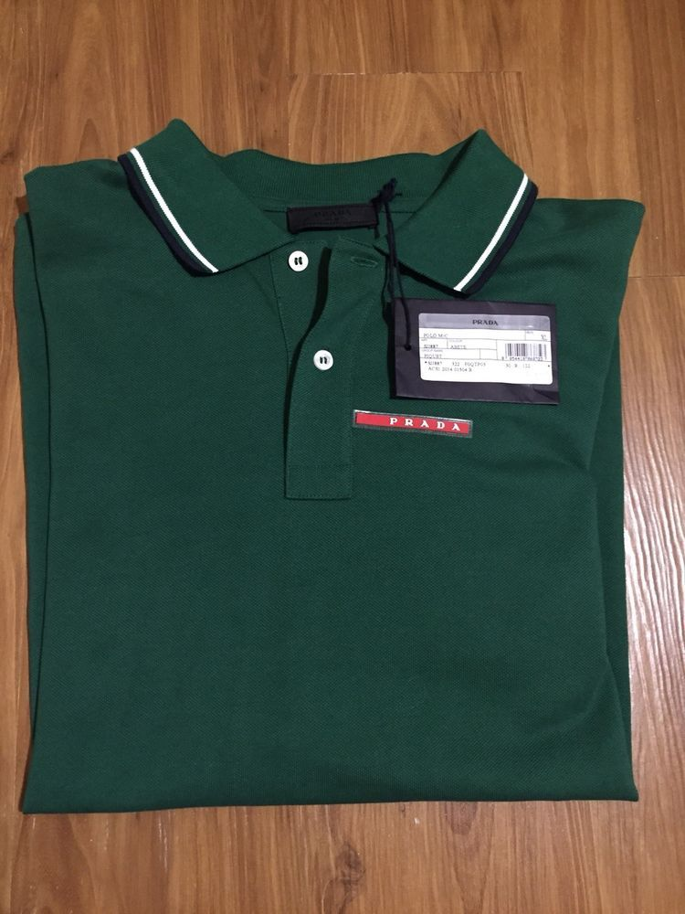 87d34441 Prada Mens Cotton Piquet Abete Green Slim Fit Polo Shirt Extra Large SJJ887  NWT #fashion #clothing #shoes #accessories #mensclothing #shirts (ebay link)