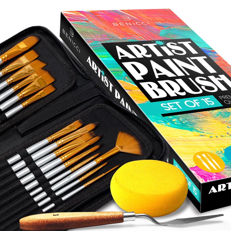 Artist Paint Brush Set of 16 with Bonus Paint Knife and