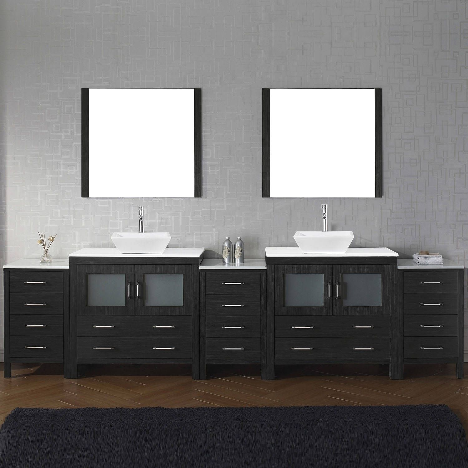 Virtu USA Dior 126-inch White Stone Double Bathroom Vanity Set with ...