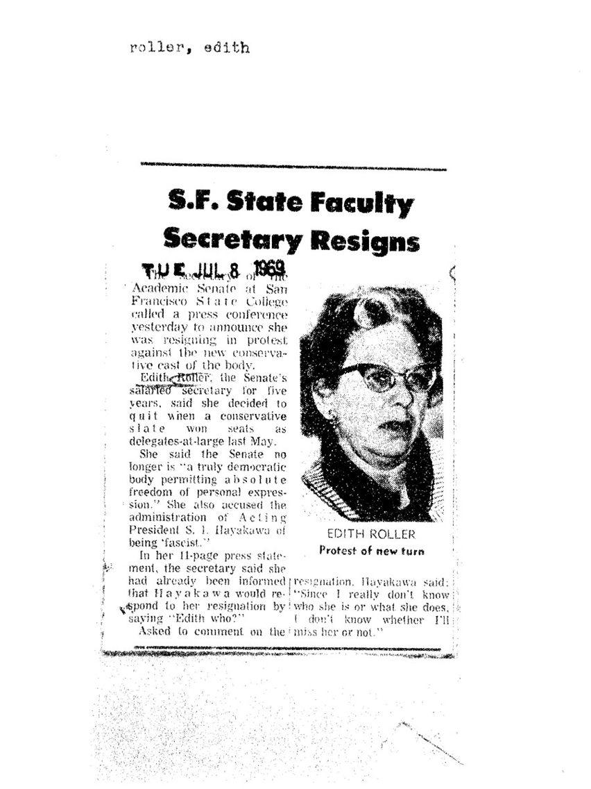 Edith Roller resignation article Edith Roller resignation
