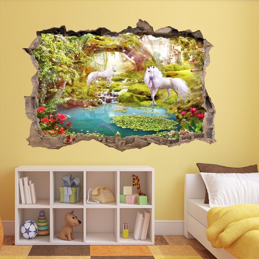 Unicorns Fairy Tale Magical Forest Fairyland Wall Sticker Mural ...