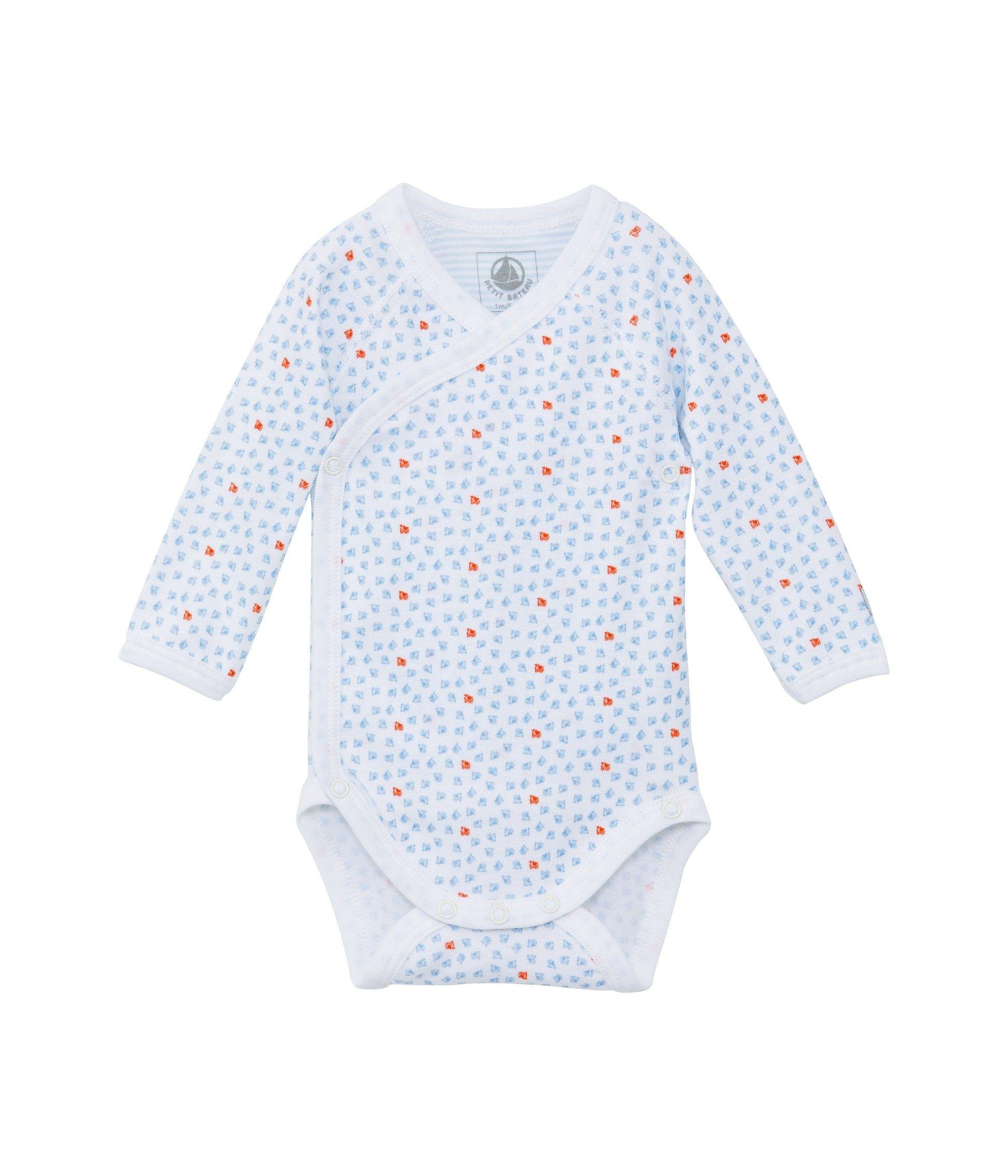 Body naissance bébé mixte imprimé blanc Ecume   blanc Multico - Petit Bateau 66e8ba2dcc9