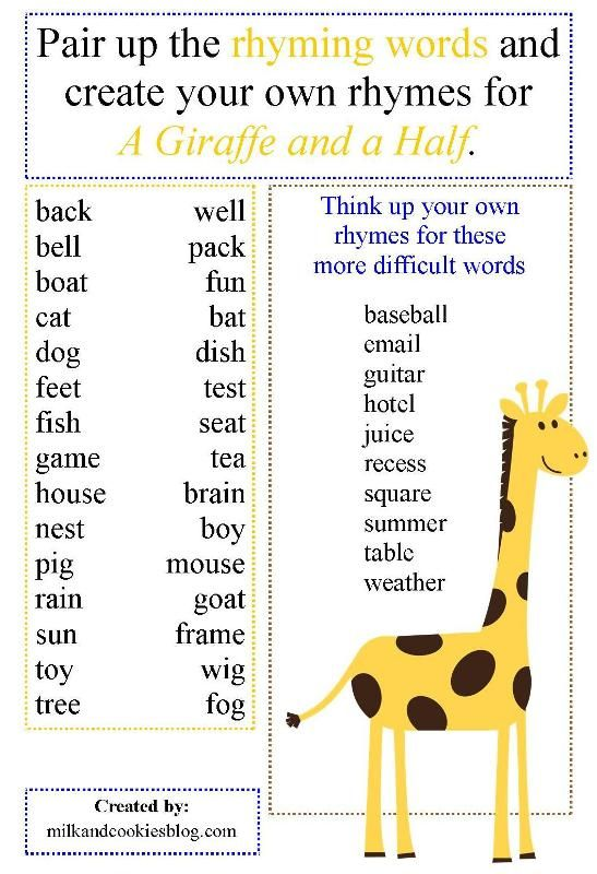 A Fun Printable To Help Create Your Own Giraffe And A Half Rhymes