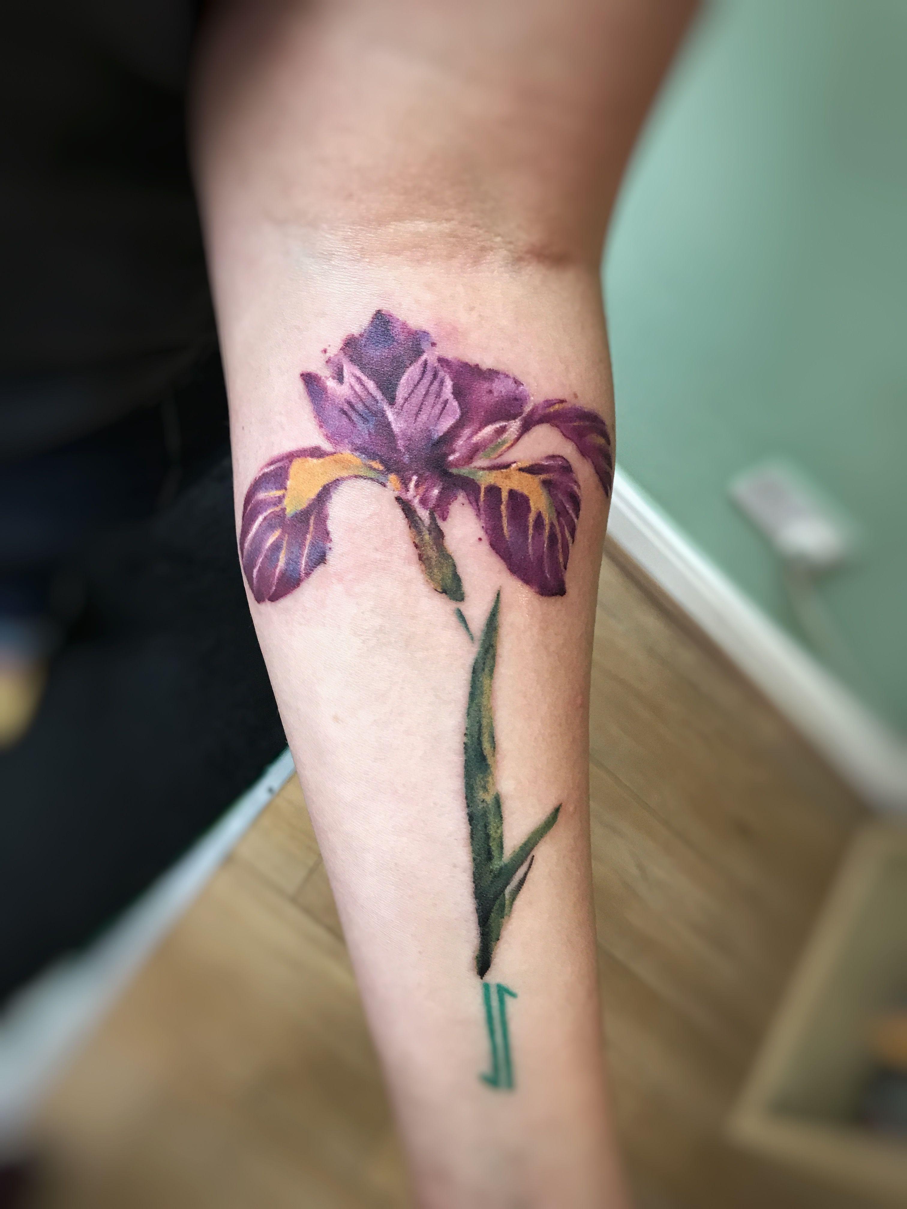 Watercolor iris flower tattoo done by yuki zerkjad yuki zerkjad watercolor iris flower tattoo done by yuki zerkjad izmirmasajfo
