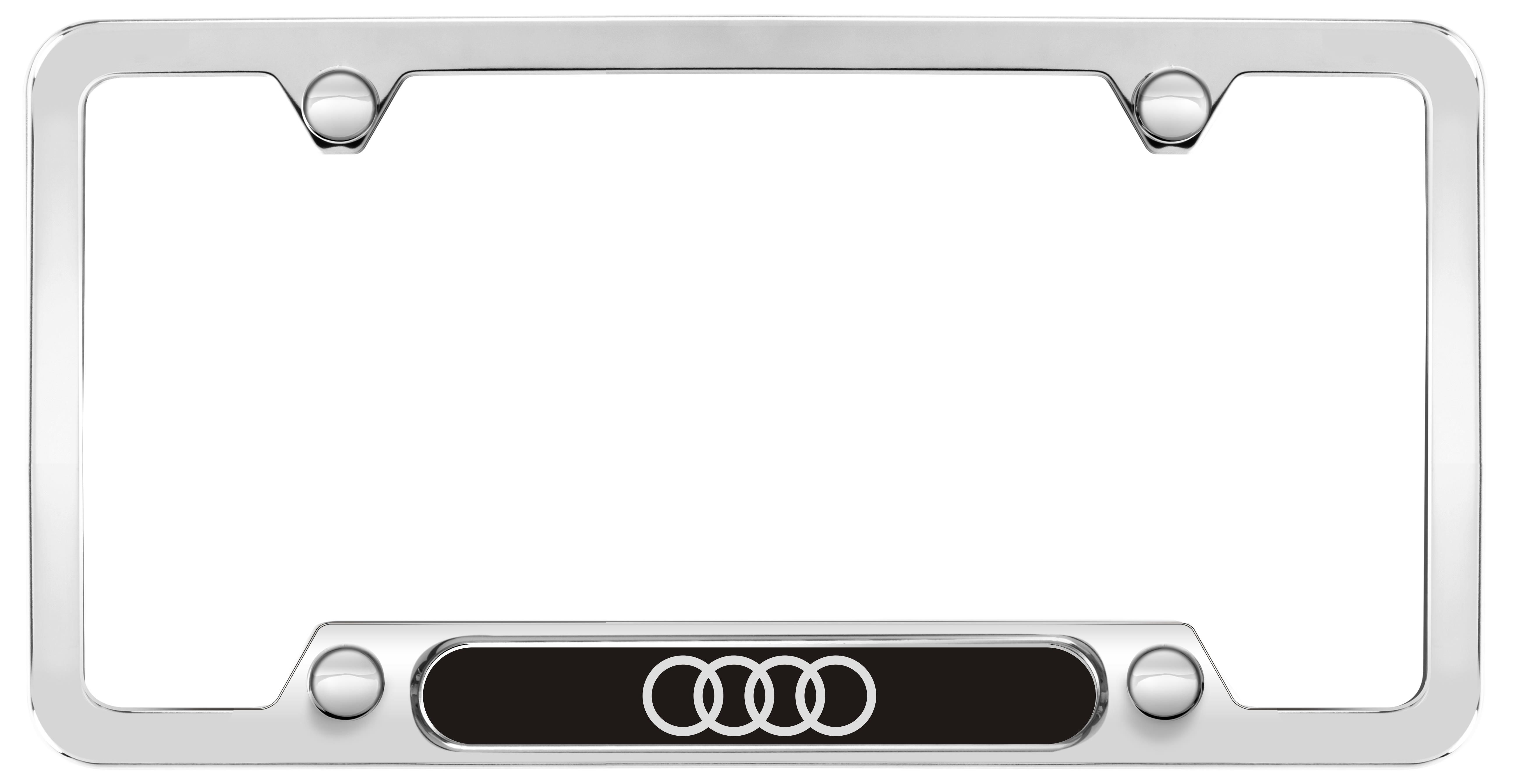 Zaw071801hz10 Audi Rings License Plate Frame Polished Stainless Steel Genuine Audi Accessory License Plate Frames Plate Frames License Plate