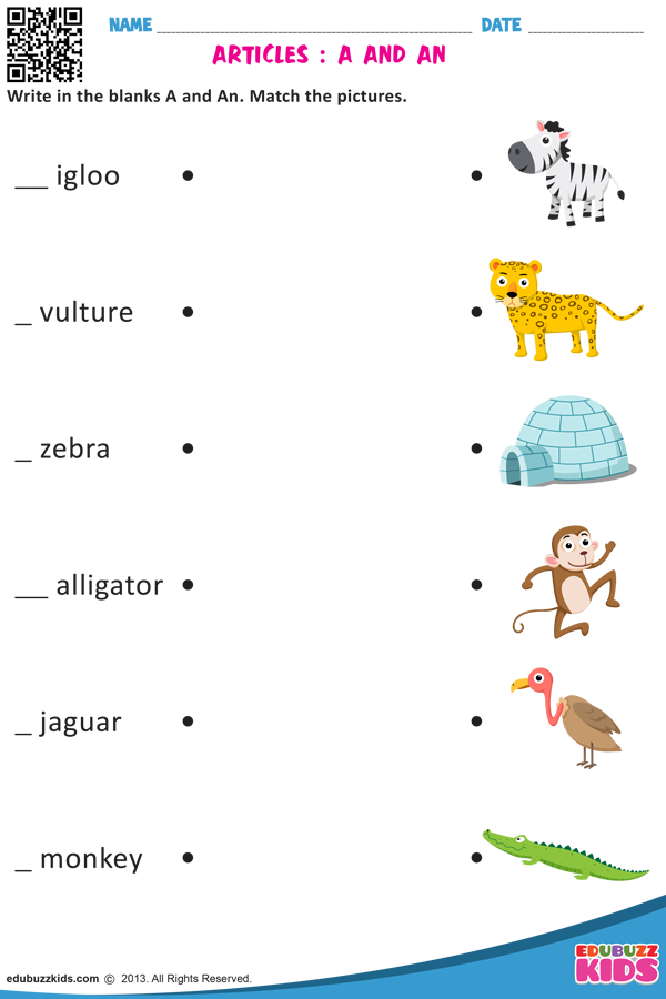 ARTICLES : A AND AN   English activities for kids. Articles worksheet. Kindergarten worksheets