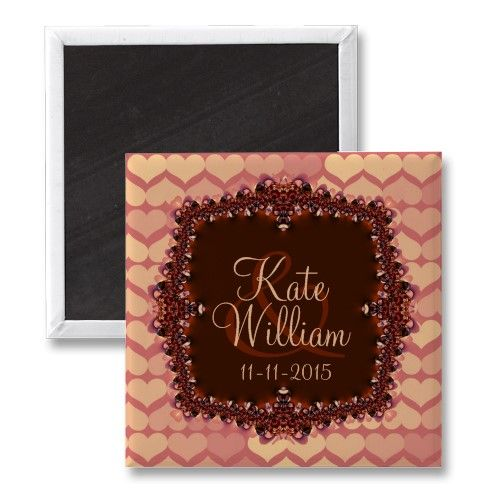 Pink Lace Hearts Save the Date Wedding Magnet by Alternative Weddings $3.45