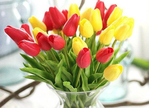 Red Tulips Wedding Flowers PU Tulip Bouquet Tulips