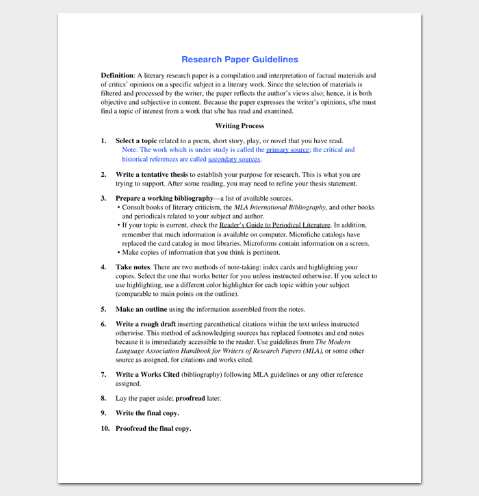 Research Outline Template   For Word Doc  Pdf Format