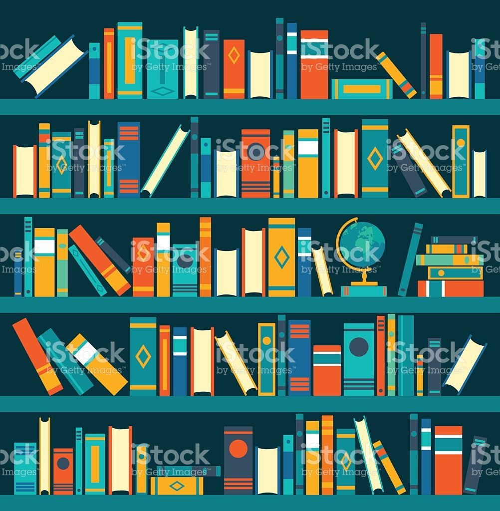 Vector Of Library Book Shelf Background Vector Flat Illustrations Flat Illustration Library Books Books