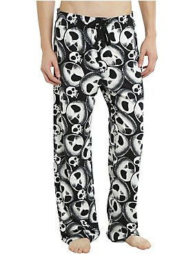 "All hail to the Pumpkin King… from the comfort of your couch. These pajama pants feature an allover Jack Skellington head and skull print. Elastic drawstring waist with single button fly.<br><br><ul><li style=""LIST-STYLE-POSITION: outside !important; LIST-STYLE-TYPE: disc !important"">100% cotton</li><li style=""LIST-STYLE-POSITION: outside !important; LIST-STYLE-TYPE: disc !important"">Wash cold; dry low</li><li style=""LIST-STYLE-POSITION: outside !important; LIST-STYLE-TYPE: disc !impor..."