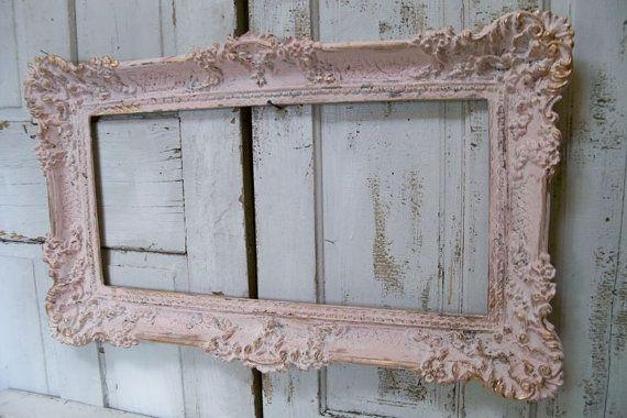 Reserved for armando Large ornate vintage frame pink accented gold ...