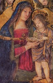 Giulia Farnese as the Madonna (Pintoricchio)   Above a window in the Borgia Apartment
