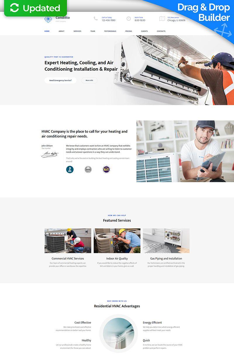 Conditto Hvac Premium Moto Cms 3 Template 65311 Air Conditioning Services Hvac Company Air Conditioning Design