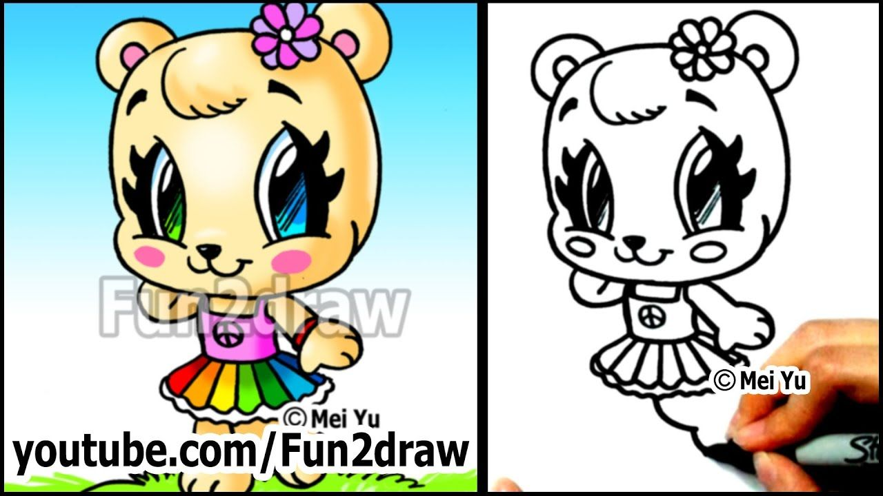 Cute Animals How To Draw A Bear Girl Rainbow Skirt And Flower Funny Love Memes Music Photography Photooftheda Fun2draw Elephant Coloring Page Cute Animals