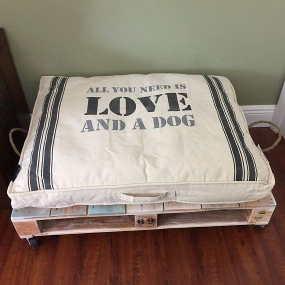 Upcycled dog pallet bed