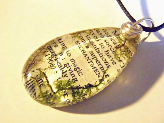 Green Moss Magic Book Page Resin Pendant Necklace Dictionary Words Enchantment Supernatural Incantations Sorcerer Magically Bohemian Jewelry by PrismGypsy, $18.00 find supplies #glass domes #frame charms #bezel bases at eCrafty.com