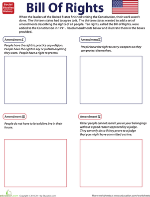 Illustrate The Bill Of Rights Social Studies Worksheets Social - Us map quiz your child learns