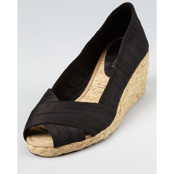 Lauren Ralph Lauren Espadrilles - Cecilia Silk Mid Wedge ($35) ❤ liked on Polyvore featuring shoes, sandals, black, black wedge shoes, mid heel wedge sandals, wedge sandals, black shoes and black wedge espadrilles