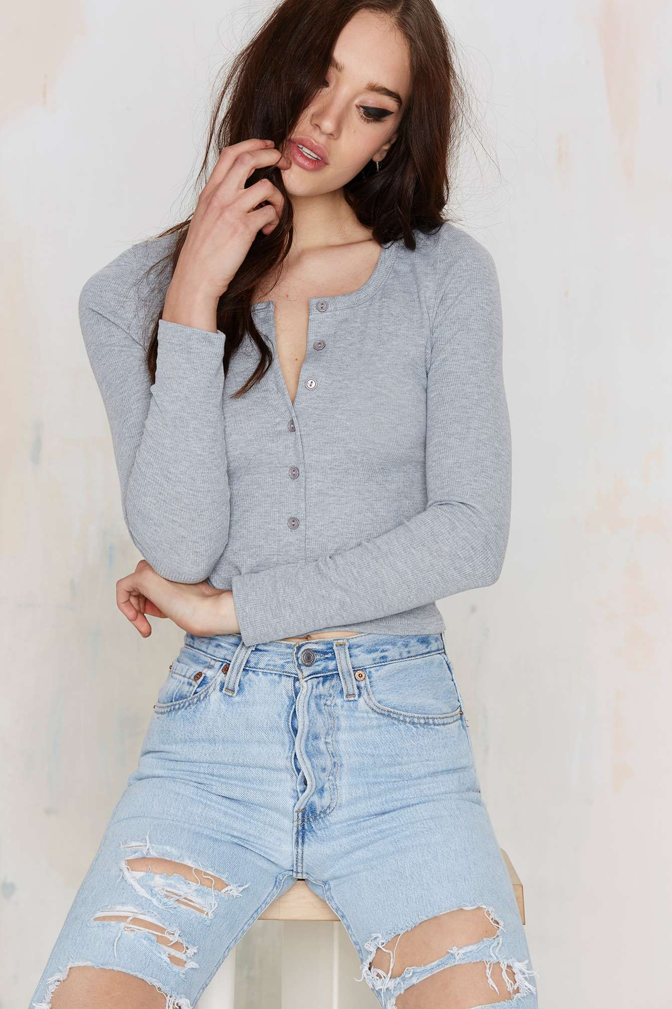 Glamorous Button Up And Coming Ribbed Top - Gray | Shop Clothes at Nasty Gal!