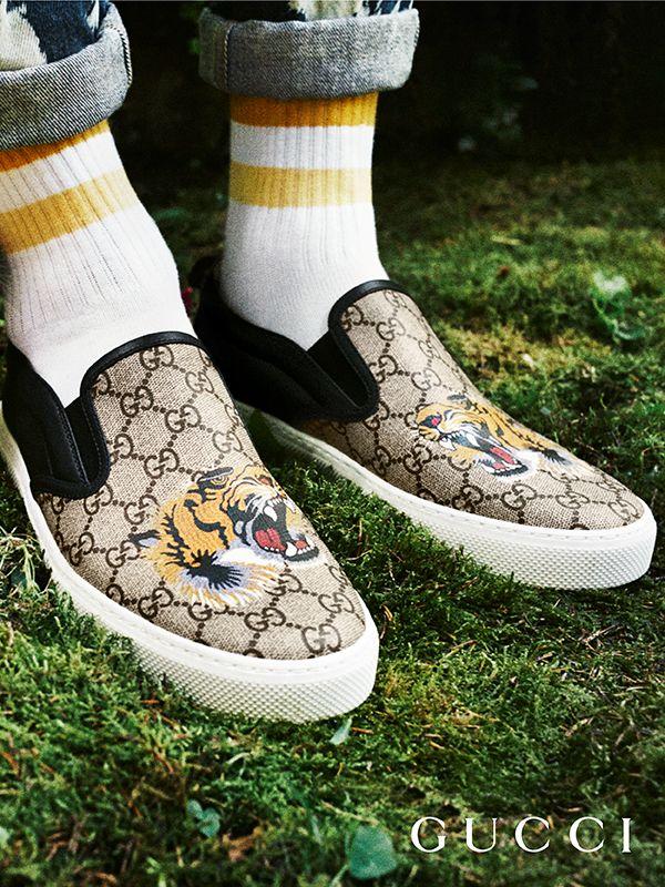 7a0baf0e903 Gg Supreme Tiger Slip On Sneaker Gucci Sneakers Fashion