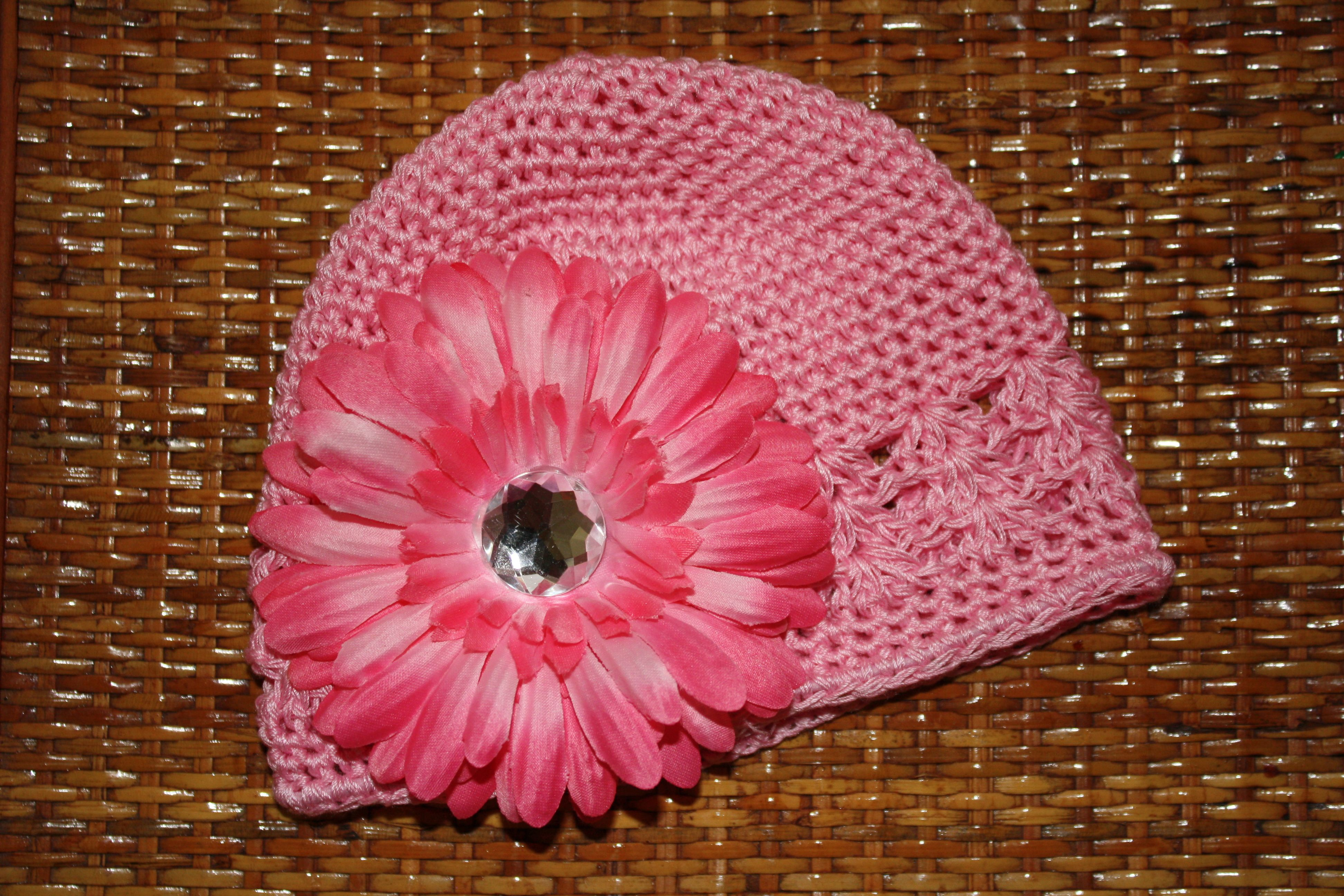 Pink infant kufi cap, size 0 to 12 months, $12.00