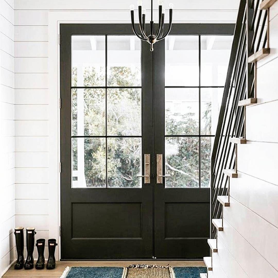 Glass Front Doors Black Front Doors Double Front Doors Shiplap Entryway Unique Front Doors Double Door Entrance Double Front Doors