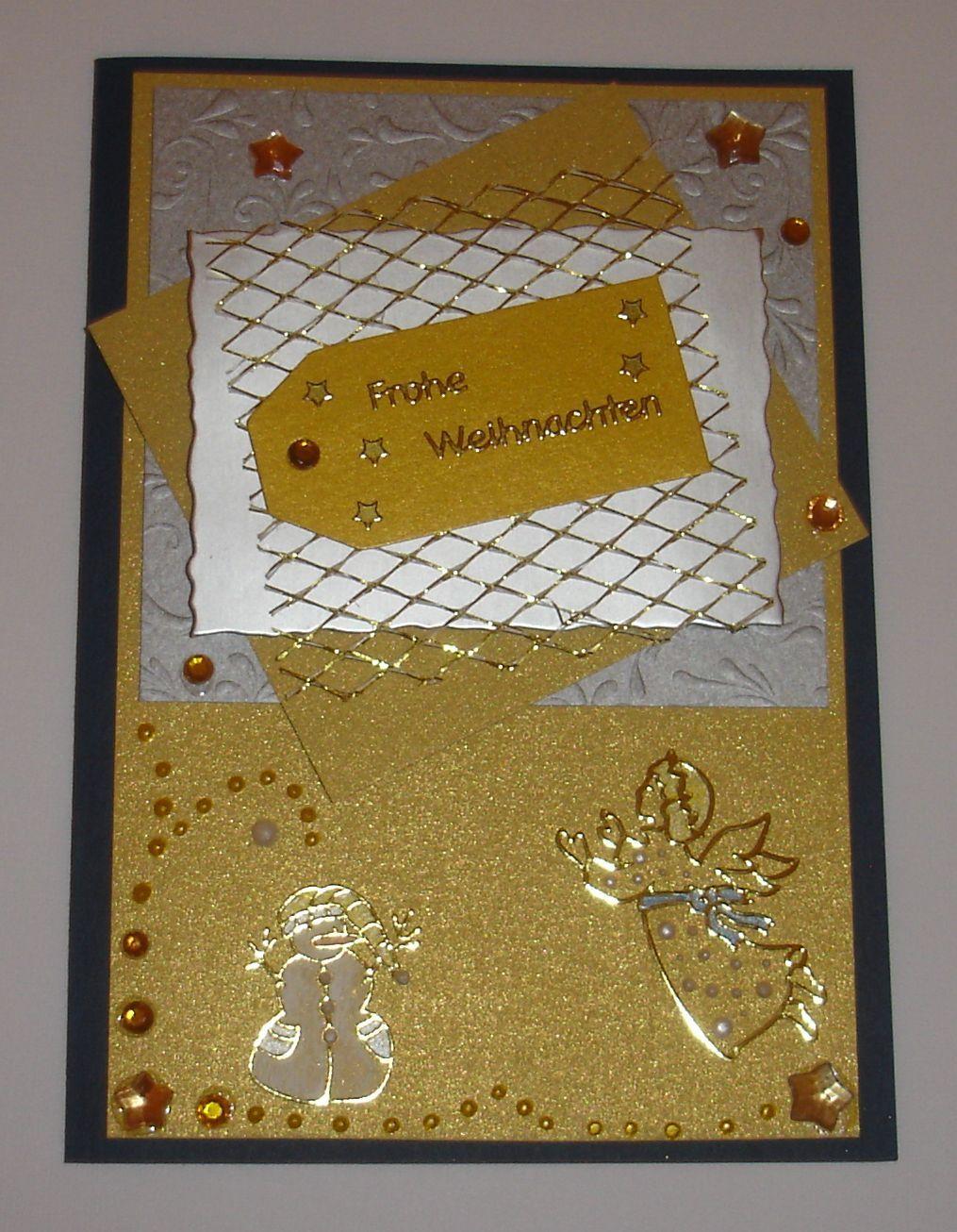 Weihnachtskarte -  goldig mit Engeln