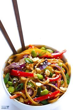 Rainbow Peanut Noodles  INGREDIENTS: RAINBOW PASTA INGREDIENTS: 12 ounces whole-wheat pasta 1 Tbsp. peanut oil (or olive oil) 1 red bell pepper, cored and julienned (thinly sliced) 1 yellow bell pepper, cored and julienned 1 large carrot, peeled and julienned 1 cup shredded red cabbage 1 cup shelled edamame topping: thinly-sliced scallions (green onions), toasted sesame seeds and chopped peanuts  PEANUT SAUCE INGREDIENTS: 1/2 cup creamy peanut butter 1/4 cup soy sauce 3 Tbsp. water 2 Tbsp…