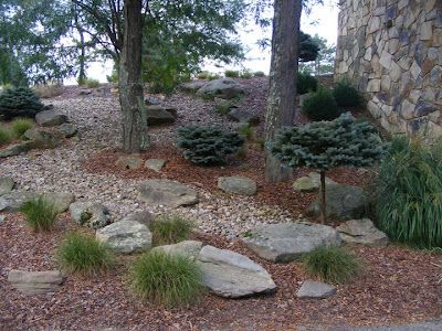 Hillside Landscaping With Rocks And Mulch I Like How It Combines A Lot Of Different Elem Hillside Landscaping Landscaping With Rocks Landscaping With Boulders