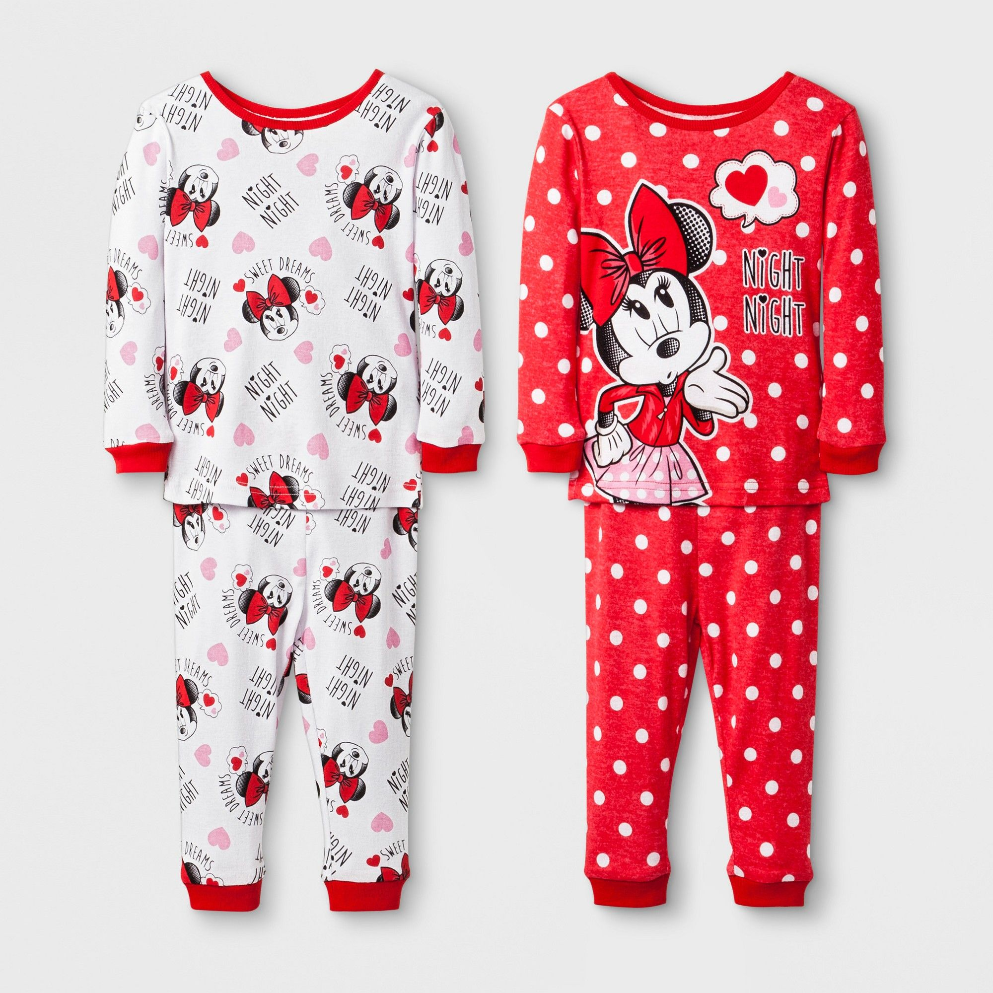 d4b7549f7e Baby Girls  Disney Mickey Mouse   Friends Minnie Mouse 4pc Pajama Set - Red  18M