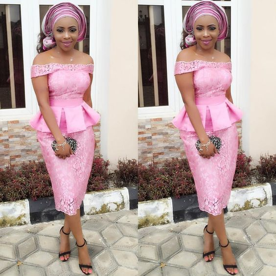 Online Hub For Fashion Beauty And Health: Stunning Lace Asoebi Midi Skirt And Off Shoulder B...