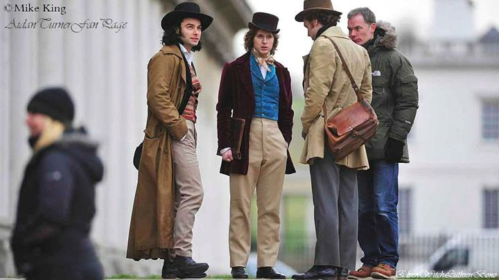 taken during the filming of Desperate Romantics on location at Greenwich on 12th February 2009 and here's the first one of Aidan with other members of the cast and crew between scenes. My edit of an original image thanks to Mike King.