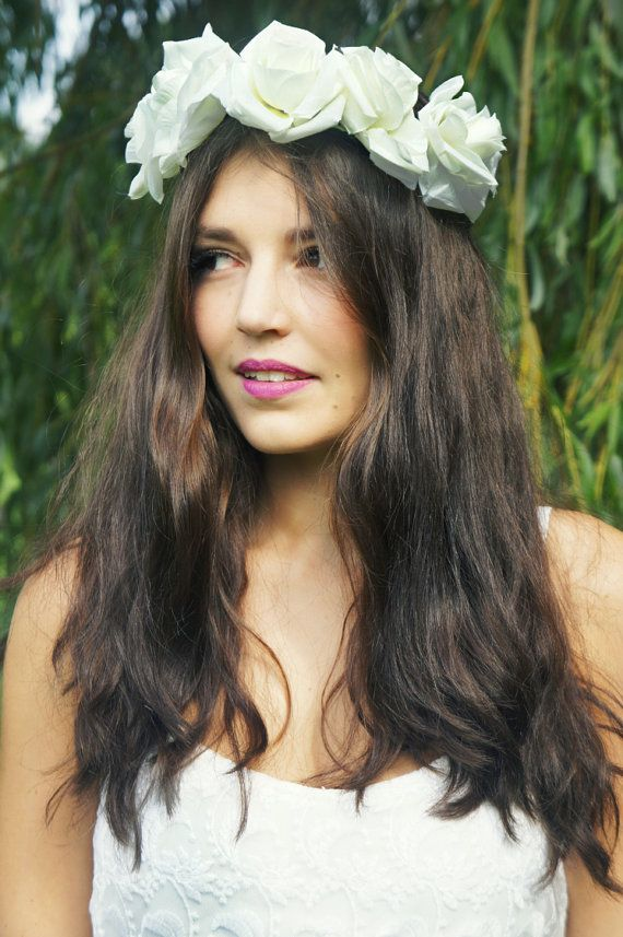 large white flower crown floral flower halo flower