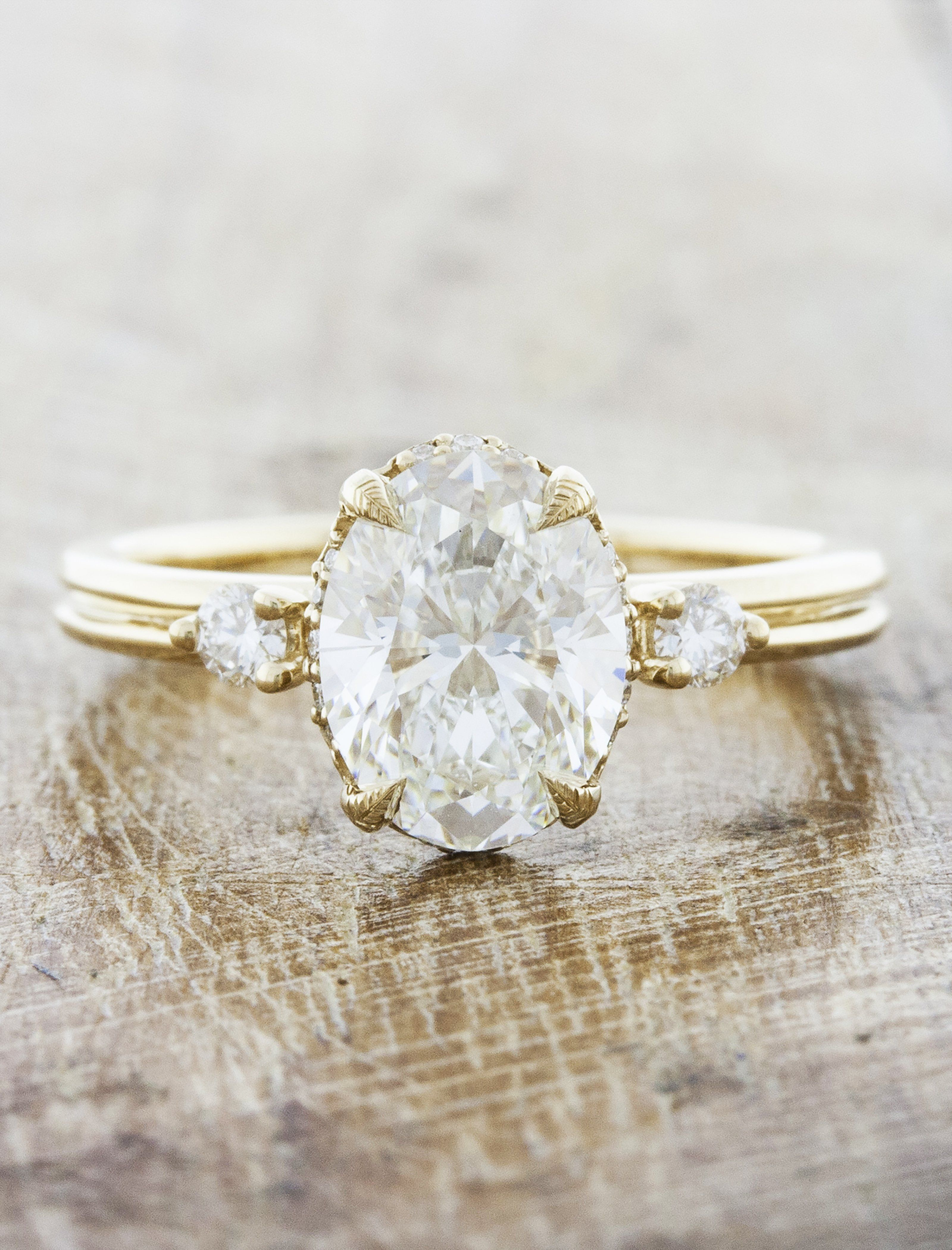 Vintage Inspired Double Band Halo Engagement Ring Gold Band Wedding Ring Engagement Rings Oval Unique Yellow Gold Engagement Ring