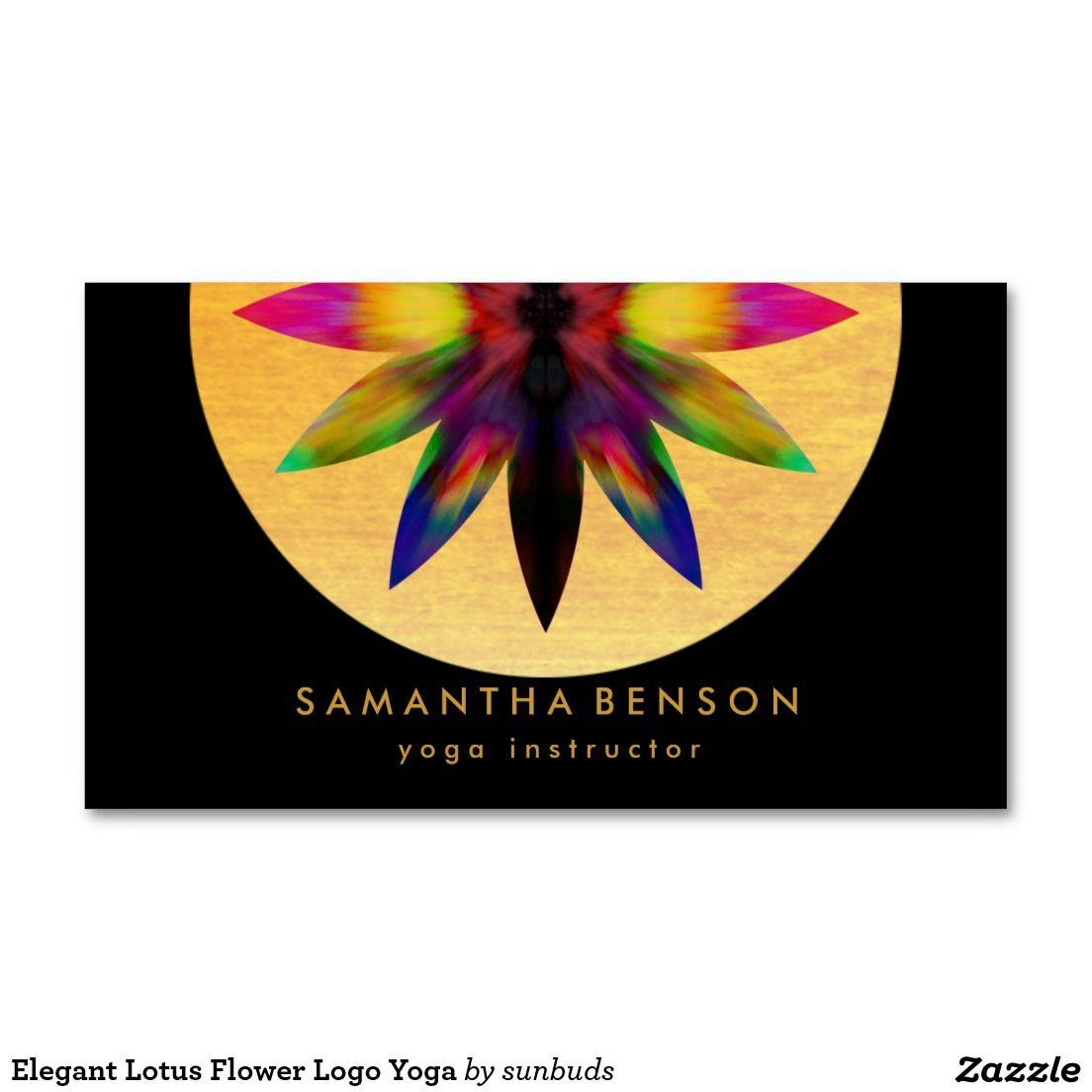 Elegant Lotus Flower Logo Yoga Business Card | Yoga, Business and ...