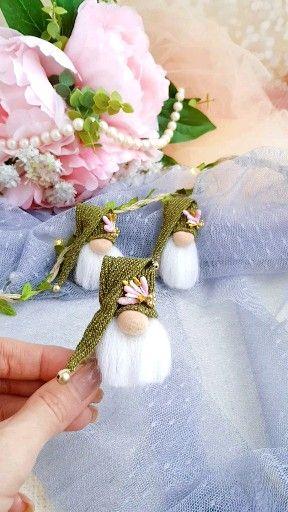 brooch green Scandinavian forest flower gnomes Min