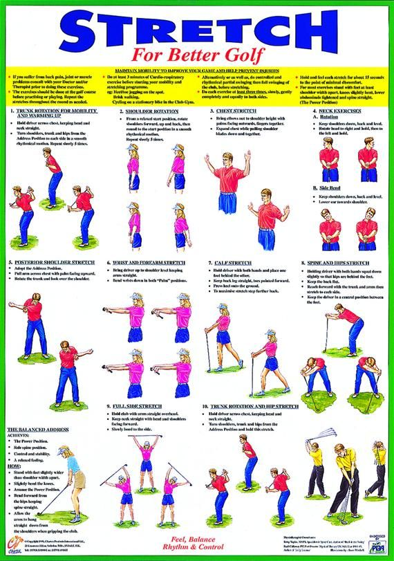 Golf Training Warm Up Poster Golf Exercise Chart