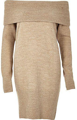 0088bdf7b5a River Island Womens Beige knitted bardot sweater dress
