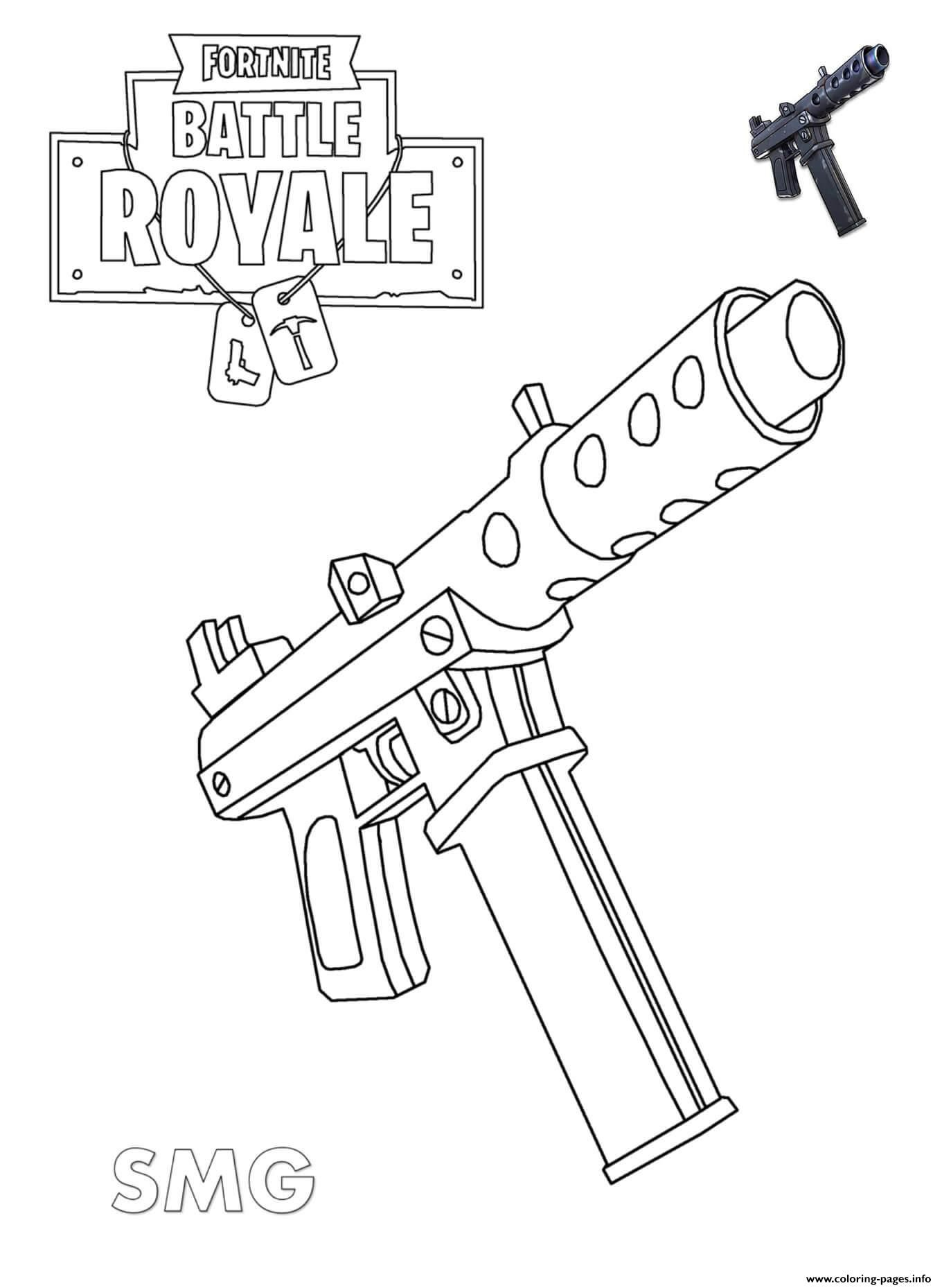 Print Machine Pistol Fortnite Coloring Pages With Images