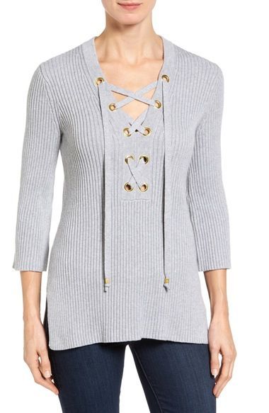 63cb3893d01 MICHAEL MICHAEL KORS Lace-Up Tunic Sweater (Regular   Petite).   michaelmichaelkors  cloth