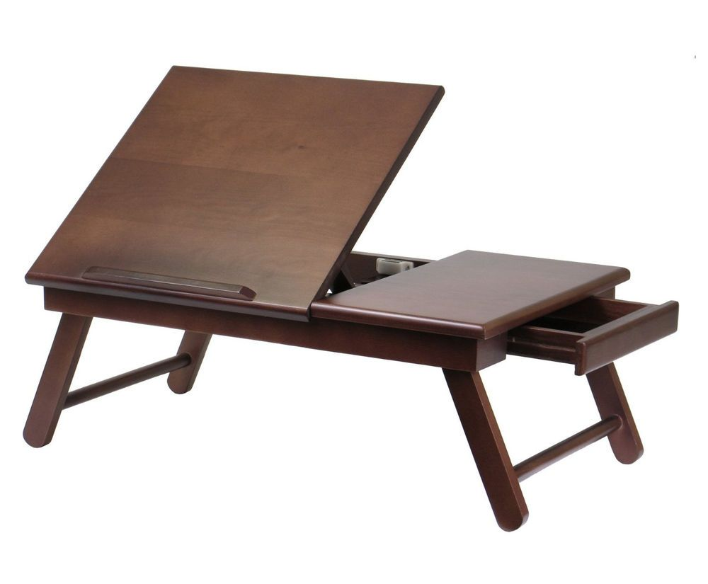 Laptop bed table tray - Wood Lap Desk For Bed Lounging Sofa Laptop Folding Table Stand Work Station Tray