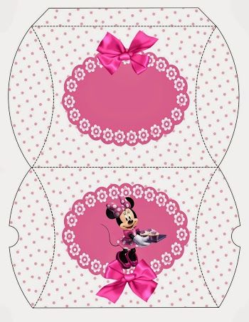 Minnie con Lunares Rosa: Cajas Almohada para Imprimir Gratis.