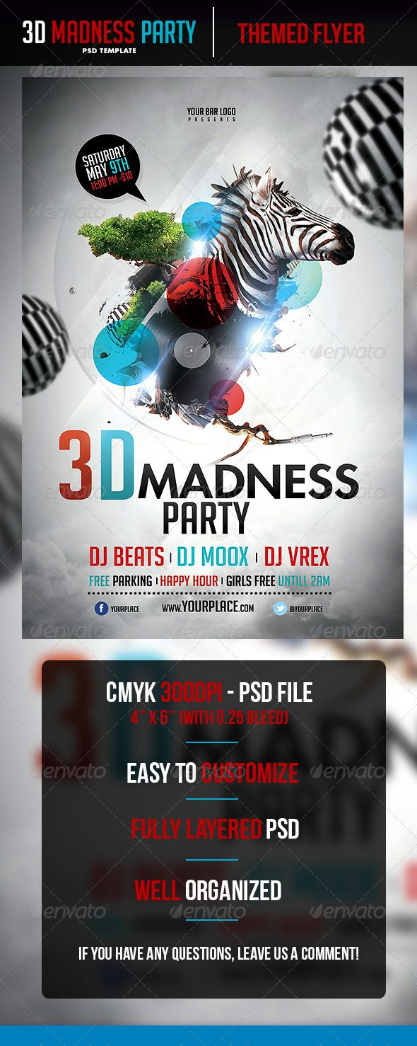 D Madness Flyer Template Flyer Template Template And Logos - 3d brochure template