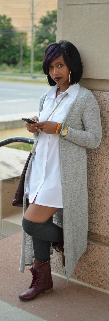 White Button Down - Maxi Cardigan - Fall 2014 Fall Outfit Idea ...