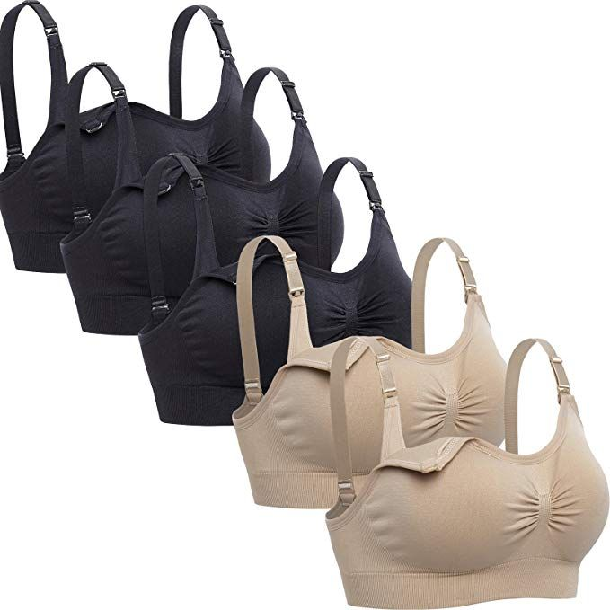 63c4013253bb6 Lataly Womens Sleeping Nursing Bra Wirefree Breastfeeding Maternity  Bralette Pack of 5 Color Black Beige Size S