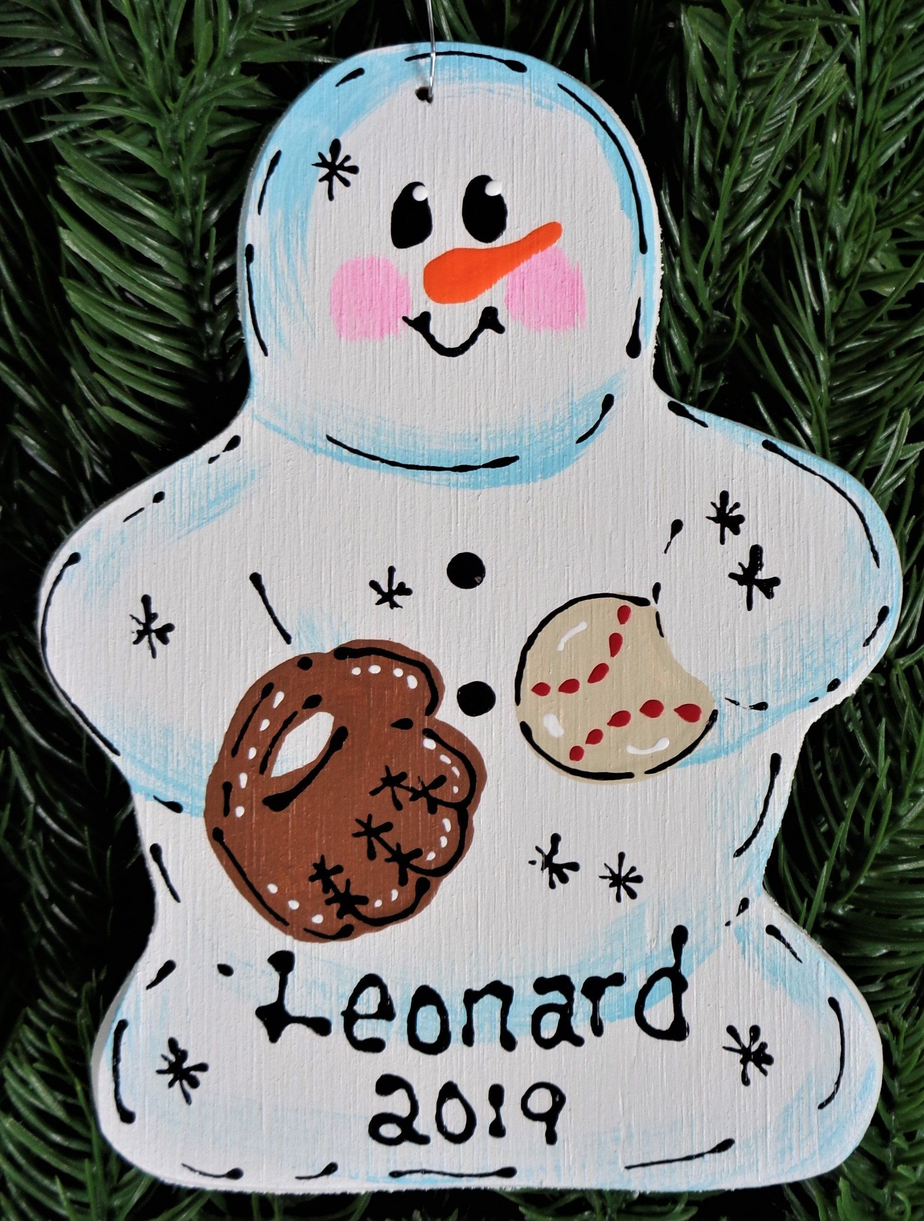 Snowman christmas ornament with name